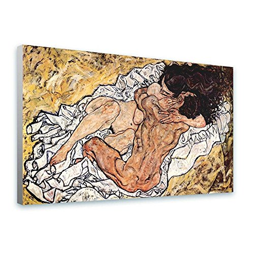 Alonline Art - The Embrace Egon Schiele FRAMED STRETCHED CANVAS (100% Cotton) Gallery Wrapped - READY TO HANG | 44