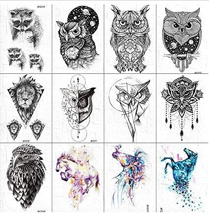 ruofengpuzi Adesivo tatuaggio 3D Tatuaje Mapache Temporal Mujeres ...