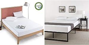 Zinus 8 Inch Gel-Infused Green Tea Memory Foam Mattress, Queen & ABEL 14 Inch Metal Platform Bed Frame with Steel Slat Support, Mattress Foundation, Queen