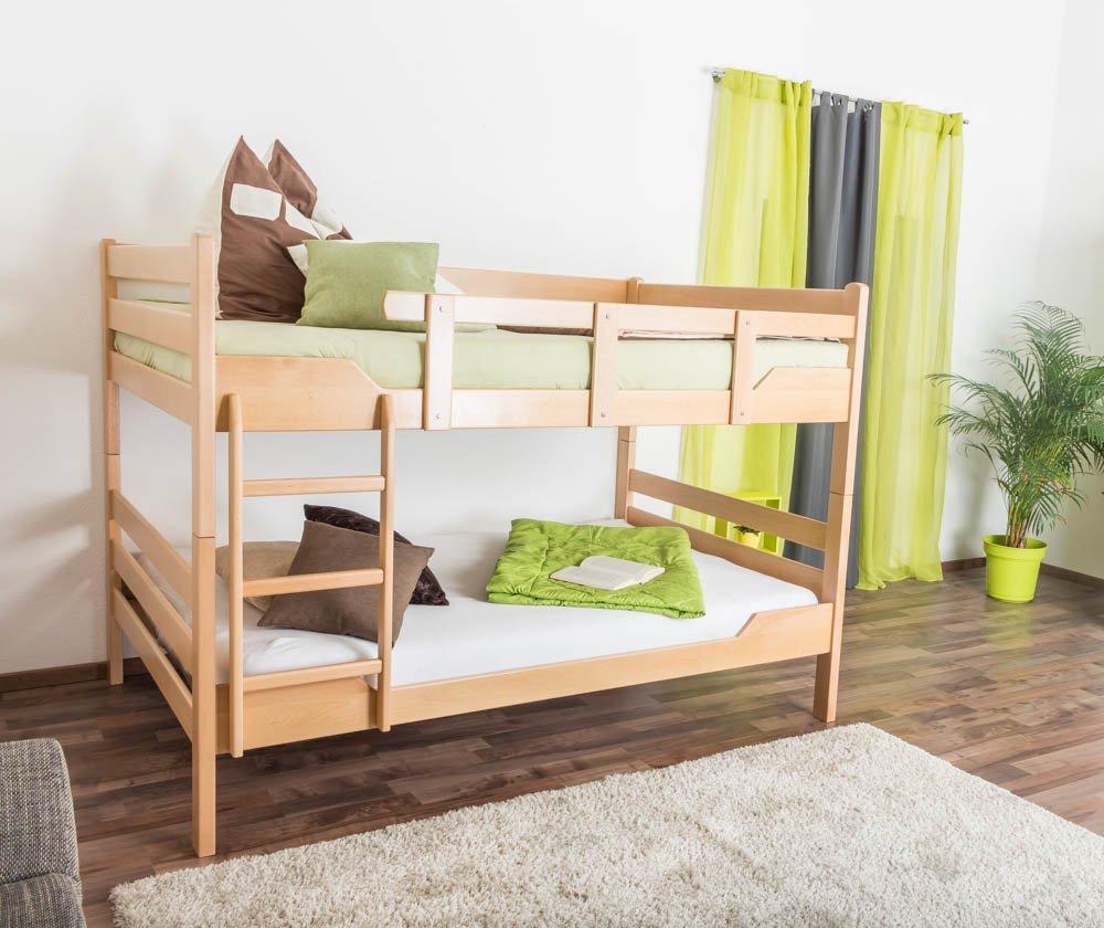 Etagenbett für Erwachsene Easy Premium Line  K16 n, Kopf- und Fußteil gerade, Buche Vollholz massiv Natur - Liegefläche  120 x 200 cm, teilbar