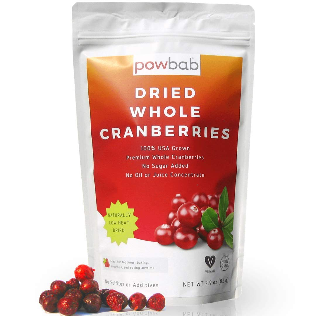powbab Dried Cranberries Unsweetened - 100% USA Grown Organic Dried Cranberries. No Sugar Added, No Oil, No Apple Juice Concentrate Infused, No Sulfites. Dried Fruit. Not Sweetened or Reduced (2.9 Oz)
