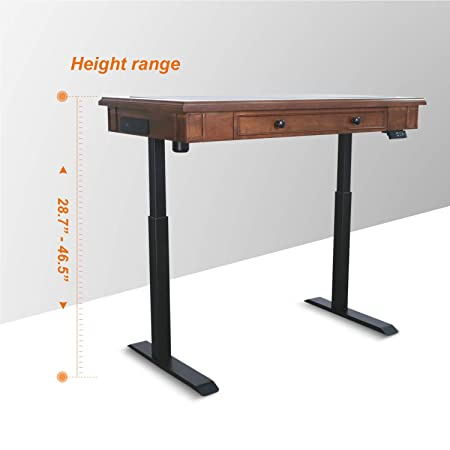 AITERMINAL Electric Standing Desk Single Motor 49.2 x25.6 Adjustable Height Desk with Inset Utility Drawer-Cherry