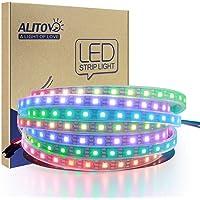 ALITOVE WS2812B Individually Addressable LED Strip Light 5050 RGB 16.4ft 300 LED Pixel Flexible Lamp Tube Waterproof IP67 Black PCB DC 5V