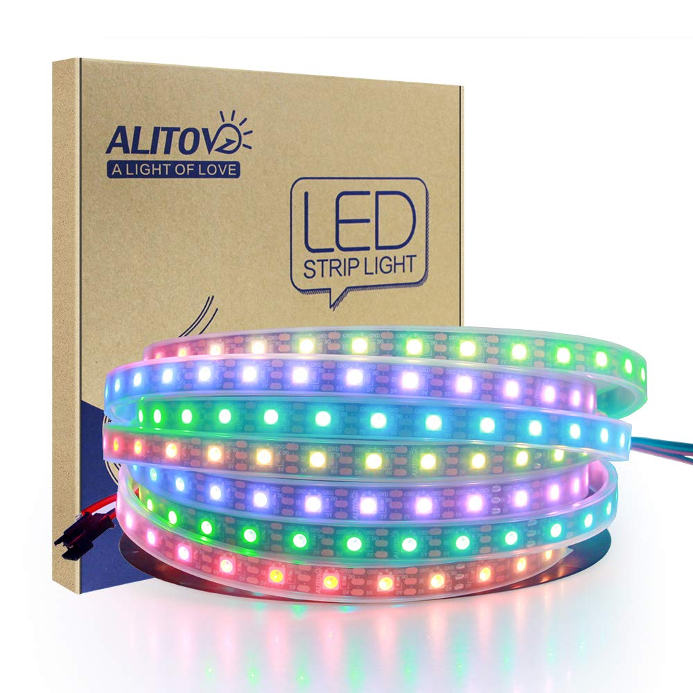 ALITOVE 16.4ft 300 Pixels WS2812B RGB LED Flexible Strip Light Individually Addressable Dream color Waterproof IP67 Black PCB DC 5V 812B300WPBK-FBA