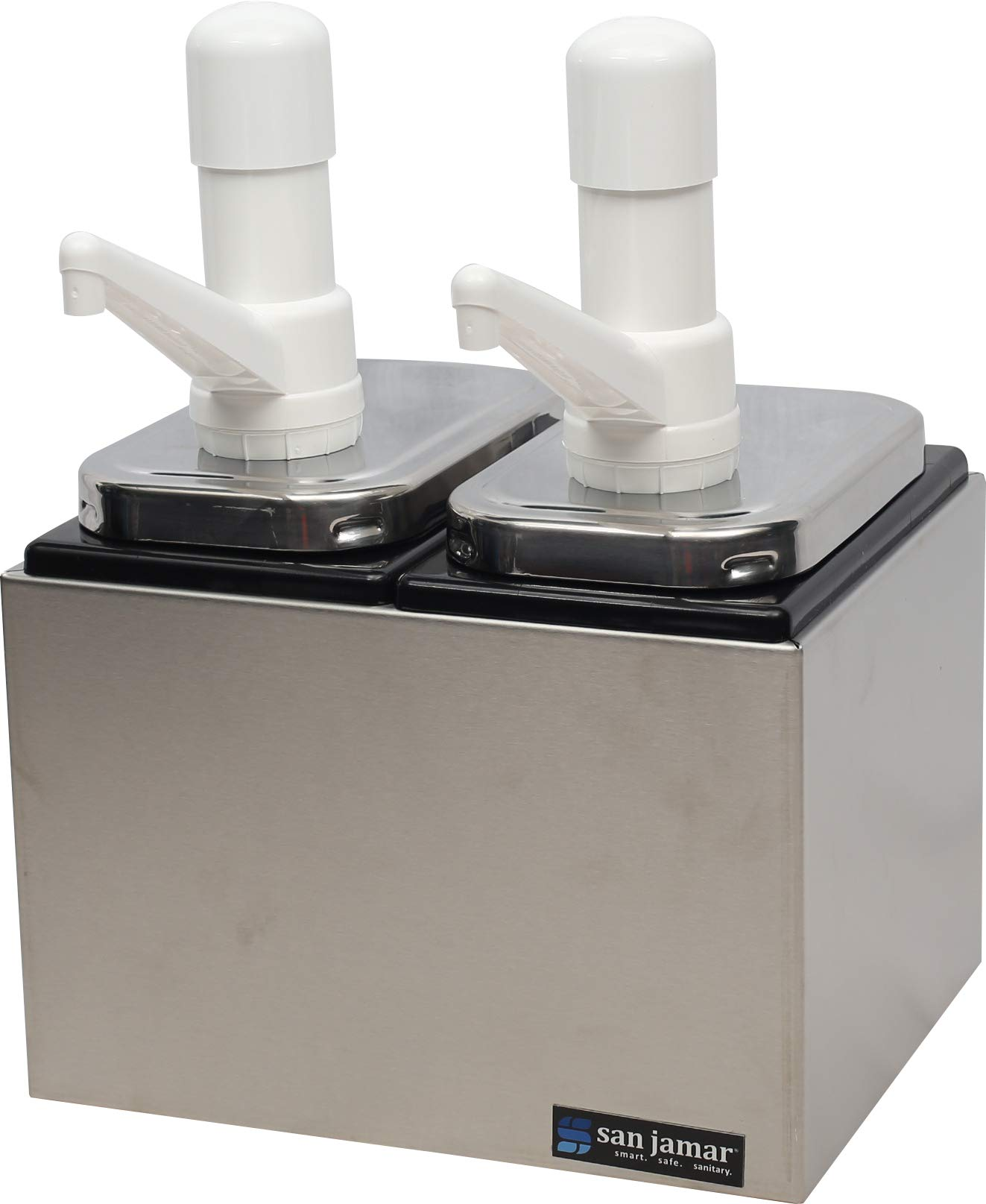 San Jamar P9712 Stainless Steel Condiment Pump Service Center with 2 Wells Black Jars, 10-1/8'' Length x 7-7/8'' Width x 12-1/2'' Height by San Jamar