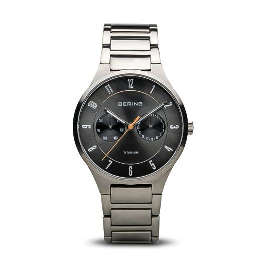 BERING Reloj Analógico para Hombre de Cuarzo con Correa en Titanio 11539-779: Amazon.es: Relojes