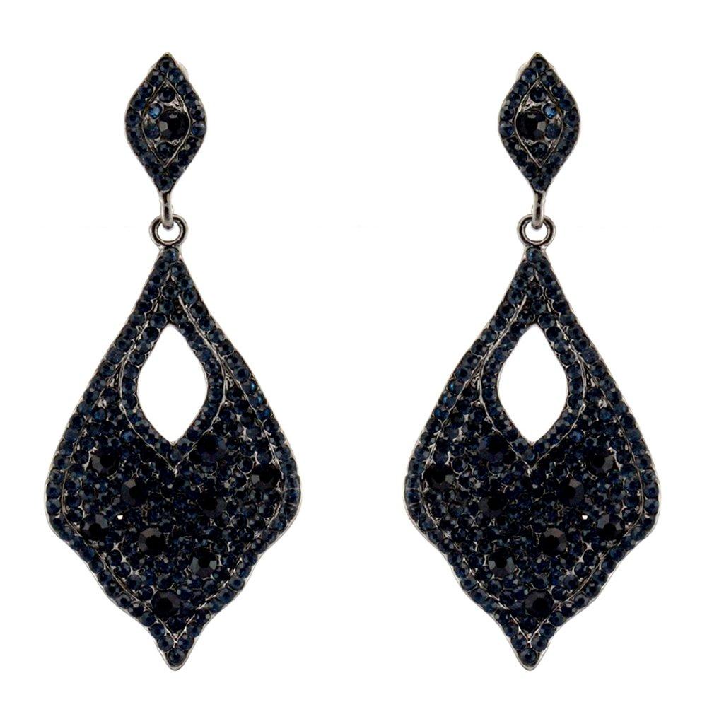 372-NAVY Dk BLUE Fashion Party & Wedding Jewelry Tear Drop Dangle Chandelier Alloy Rhinestone Earrings