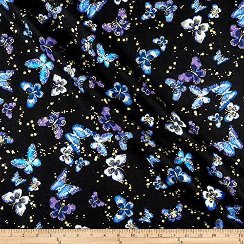 Benartex Kanvas Butterfly Jewel Allover Black/Iris, Fabric by the Yard