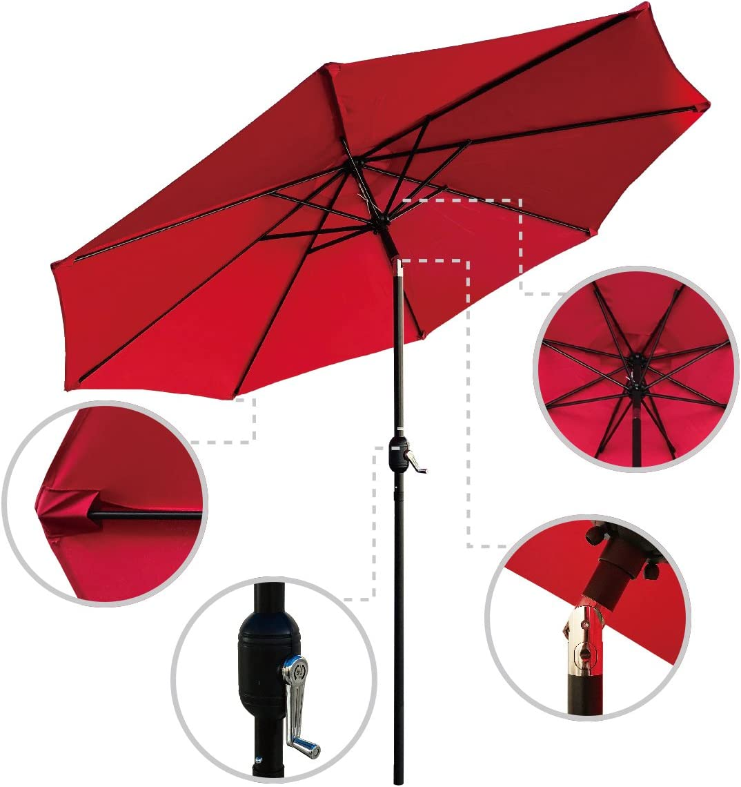 ABBLE Outdoor Patio Umbrella 9 Ft Stripe with Crank and Tilt, Weather Resistant, UV Protective Umbrella, Durable, 8 Sturdy Steel Ribs, Market Outdoor Table Umbrella - Red
