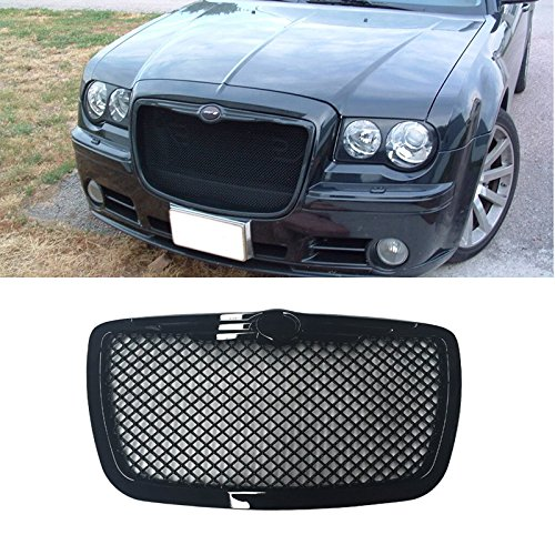 VIOJI 1pc Black Strong ABS Plastic Mesh Style Front Main Upper Grille Fit 05-10 Chrysler 300 300C All Models