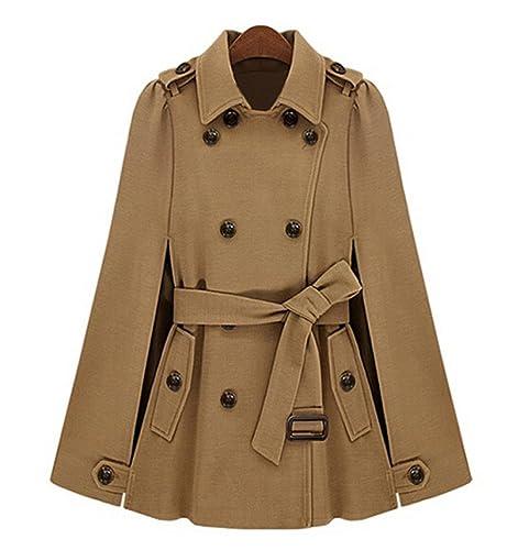 mujer Gabardina con cinturón abrigo largo chaqueta trench capa Poncho casual abrigo