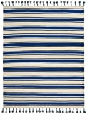 Cheap Stone & Beam Los Altos Striped Dhurrie Area Rug, 4′ x 6'6″, Navy and Ivory