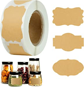 250 PCS Kraft Label Stickers Brown Jar Labels Blank Self-Adhesive Removable Jars Labels Gifts Stickers Labels for Cosmetic Candle Bottles Canning Jar Containers Lids Handmade Mason Jars Food Craft