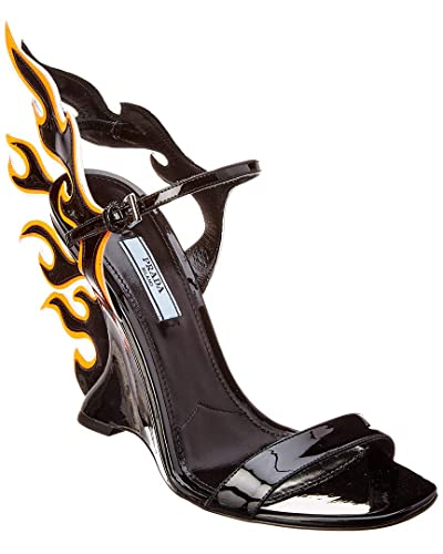 5c395efa12f Image Unavailable. Image not available for. Color  Prada Flame Patent Wedge  Sandal ...