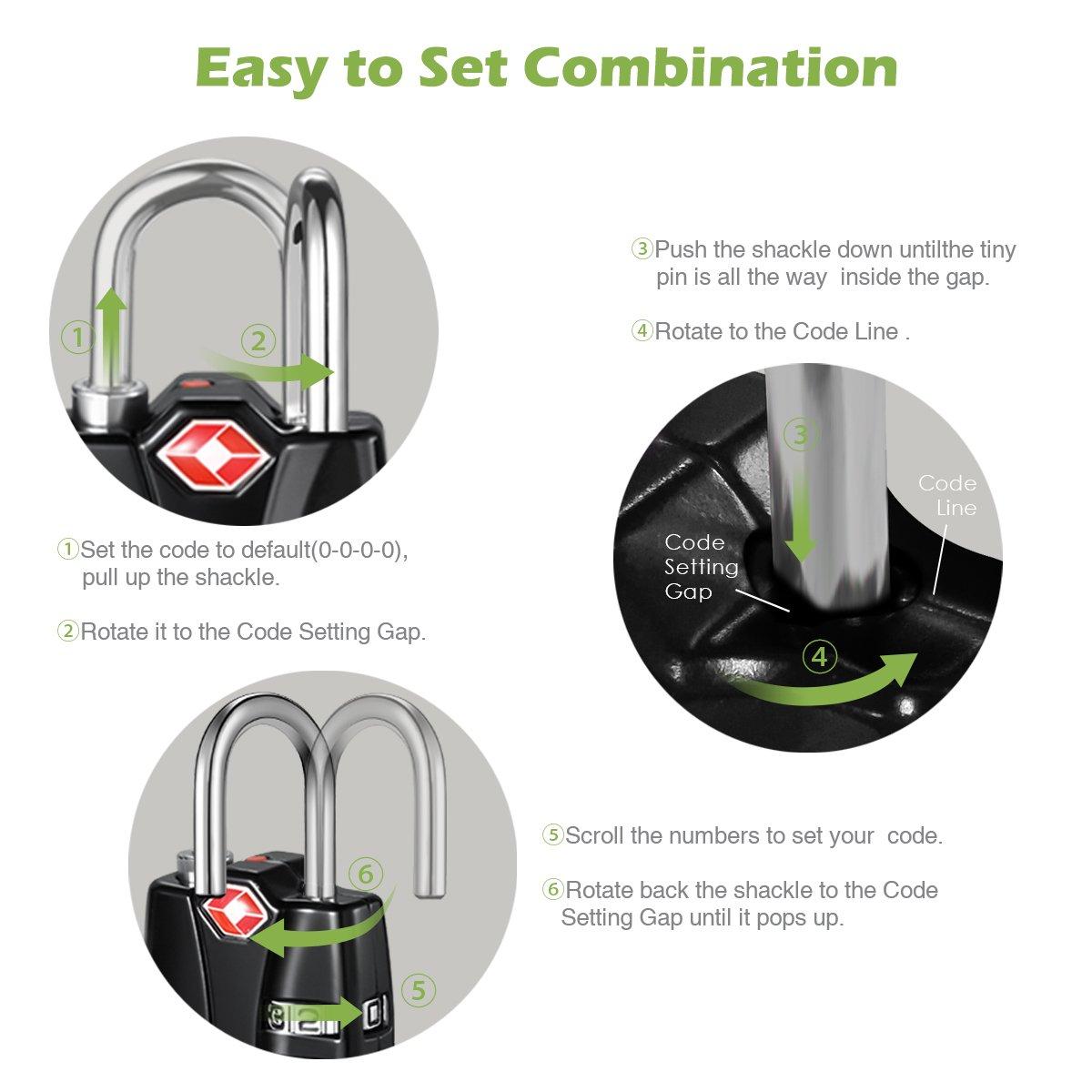 KeeKit Combination Locks, TSA Approved Luggage Locks with Open Alert Indicator, TSA Luggage Locks for Travel, Suitcase, Baggage & Backpack, Gym Locker (Black, 2 Pack) by KeeKit (Image #4)