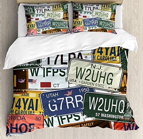 Funy Decor Vintage Bedding Set, Original Retro License Plates Creative Travel Collections Art, 4 Piece Duvet Cover Set Bedspread for Childrens/Kids/Teens/Adults, Green Blue Yellow Queen Size