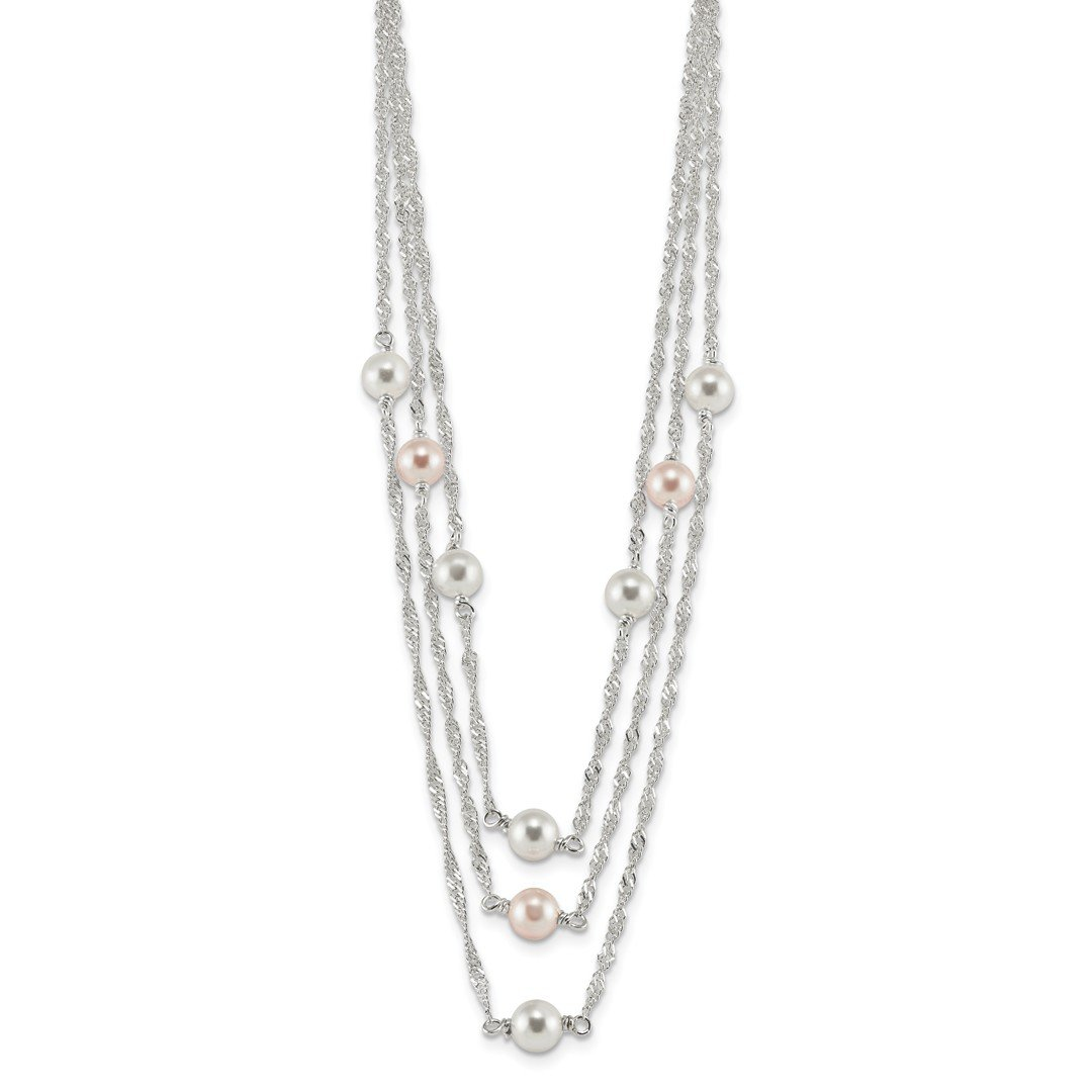 ICE CARATS 925 Sterling Silver Multi Strand Simulated Pearl 16 Inch 2 Extension Chain Necklace Pendant Charm Fine Jewelry Ideal Gifts For Women Gift Set From Heart