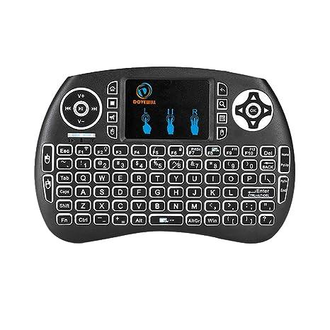 Magideal Mini Teclado sin Hilos Inglés Bluetooth Touchpad Teclado retroiluminado para Tablet PC