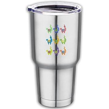 Llama Alpaca parte aislado al vacío de acero inoxidable vaso con tapa taza de café termo 18.7oz: Amazon.es: Hogar