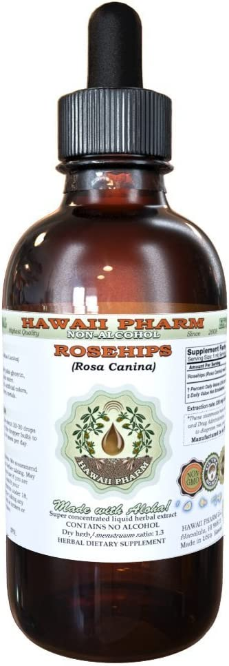 Rose Alcohol-FREE Liquid Extract, Organic Rosehips (Rosa Canina) Glycerite Natural Herbal Supplement, Hawaii Pharm, USA 2 fl.oz