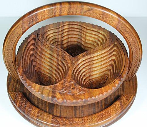 - [GiftsNMemories 3 Leaves 12-Inch Wooden Collapsible Fruit Basket, Brown] Thanksgiving fruit Basket,Wooden fruit basket,Valentines fruit baskets,Wooden Trivet,Dry Fruit Basket