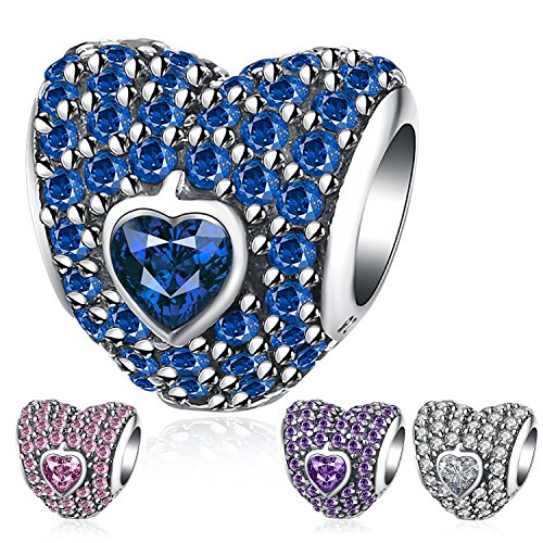 Ronglai Jewelry Sterling Silver Love Heart Bead Charms Red Blue Green Crystal Birthstone Charm fit Snake Chain Bracelets (Blue)
