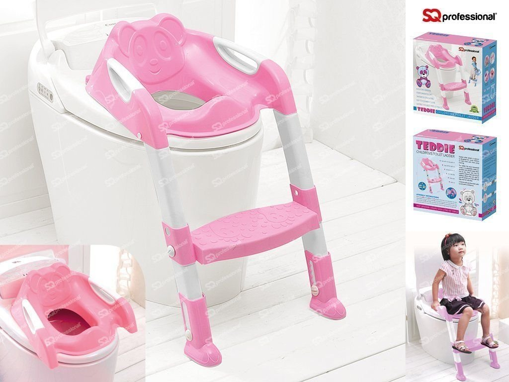 SQ Pro Pink Teddie Baby Training Toilet Ladder Potty Seat With Steps by SQ Professional