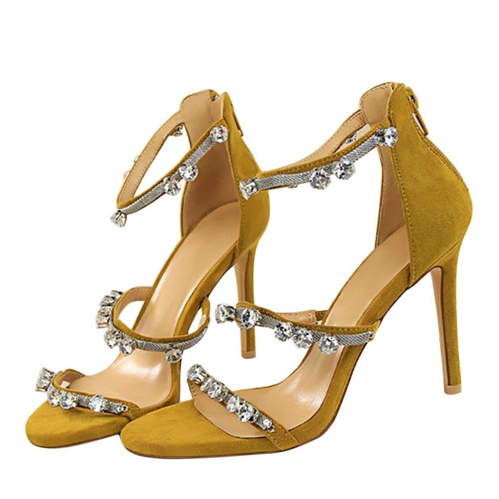 CXKS Frauen Obermaterial Veloursleder Crystal High Heel Sandalen 9,5 cm Partei Dünne Ferse Open Toe Partei cm Beige 526ddf