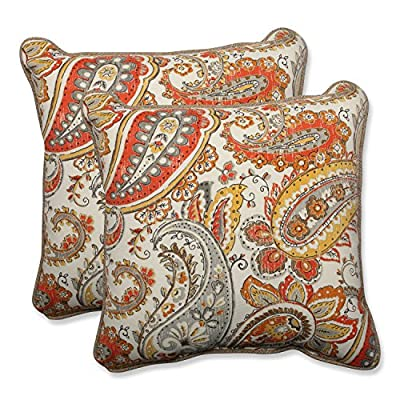 """Pillow Perfect Outdoor/Indoor Hadia Sunset Throw Pillow (Set of 2), 18.5"""" - Includes two (2) outdoor pillows, resists weather and fading in sunlight; Suitable for indoor and outdoor use Plush Fill - 100-percent polyester fiber filling Edges of outdoor pillows are trimmed with matching fabric and cord to sit perfectly on your outdoor patio furniture - patio, outdoor-throw-pillows, outdoor-decor - 61xDa7A8E2L. SS400  -"""