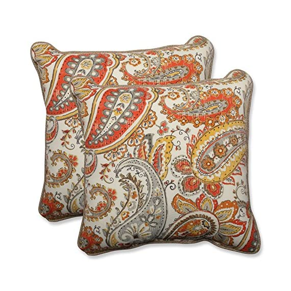 "Pillow Perfect Outdoor/Indoor Hadia Sunset Throw Pillow (Set of 2), 18.5"" - Includes two (2) outdoor pillows, resists weather and fading in sunlight; Suitable for indoor and outdoor use Plush Fill - 100-percent polyester fiber filling Edges of outdoor pillows are trimmed with matching fabric and cord to sit perfectly on your outdoor patio furniture - patio, outdoor-throw-pillows, outdoor-decor - 61xDa7A8E2L. SS570  -"