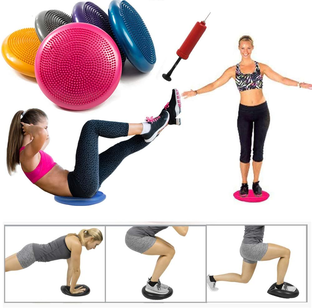 Vitos Inflatable Balance Disc Core Stability Trainer Wiggle Pad with Pump