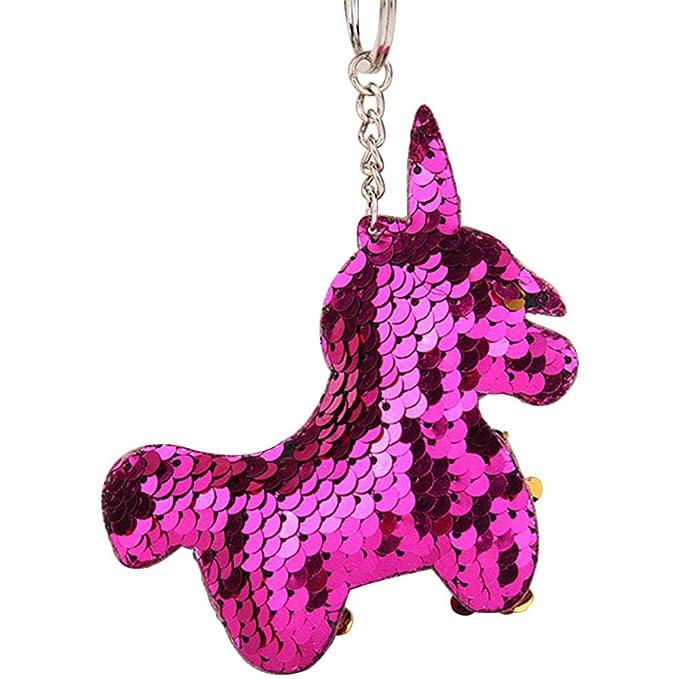 Amazon.com: Yonger Keychain Key Ring Colorful Cute Unicorn ...