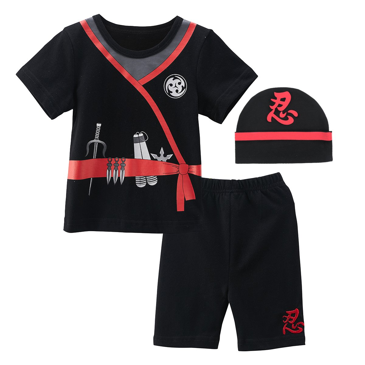 Mombebe Baby Boys 3 Pieces Ninja Short Clothing Set with Hat