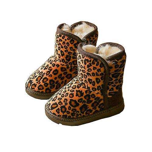 72141e05b276 BININBOX Girls Leopard Winter Snow Boots Warm Cotton Shoes Kids (6 M US  Toddler,