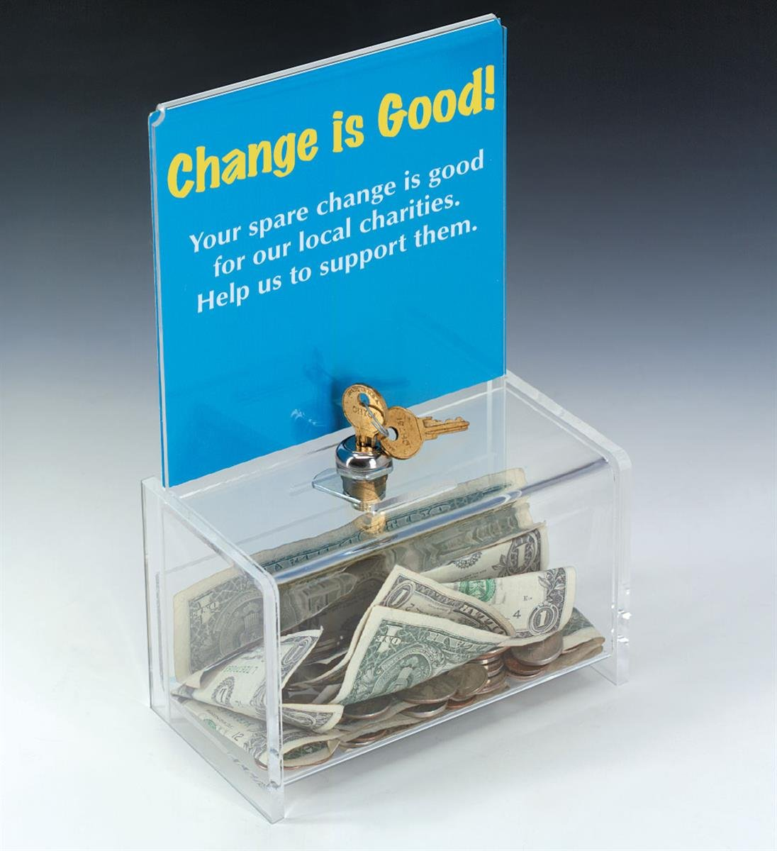Small, Locking, Clear Acrylic Donation Box, 6-1/2 x 10-1/8-Inch with Sign Frame for Countertop