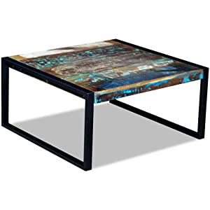 binzhoueushopping - Mesa de café de Madera Maciza Envejecida, 80 x 80 x 40 cm, Mesa de salón, Moderna, Mesa de sofá, Mesa de salón, diseño