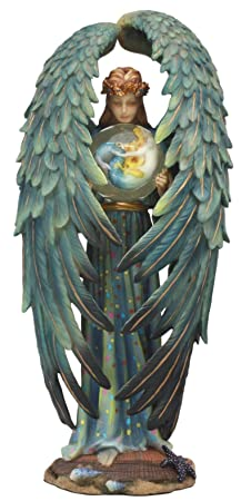 Ebros Kindred Spirit Sheila Wolk Angel Statue 10.25 Tall Angelic Being Holding Mermaid Sphere Ball