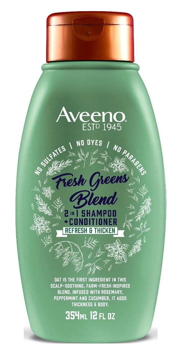 Aveeno Shampoo + Conditioner Fresh Greens Blend 2-In-1 12 Ounce (354ml) (2 Pack)