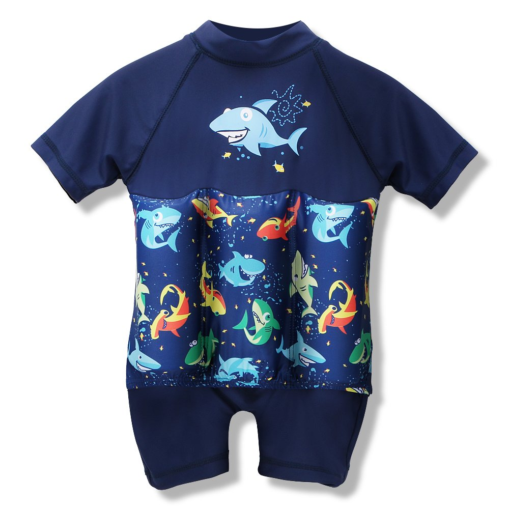 HOUZI Float Suit Toddler Kids Baby Boys Girls One Piece Swimsuit Buoyancy Sun Protection UPF 50+ (Shark, 80(12-18 Months)) by HOZIY