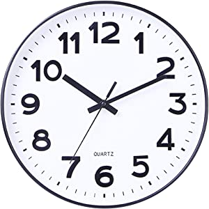 Foraineam 12-Inch Wall Clock Silent Non Ticking Battery Operated Decorative Quartz Clock for Home Office School