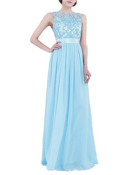 YIZYIF Vestido de Elegante Mujer de Fiesta Largo Chiffón Bordado Encaje Vestido de Dama para Boda