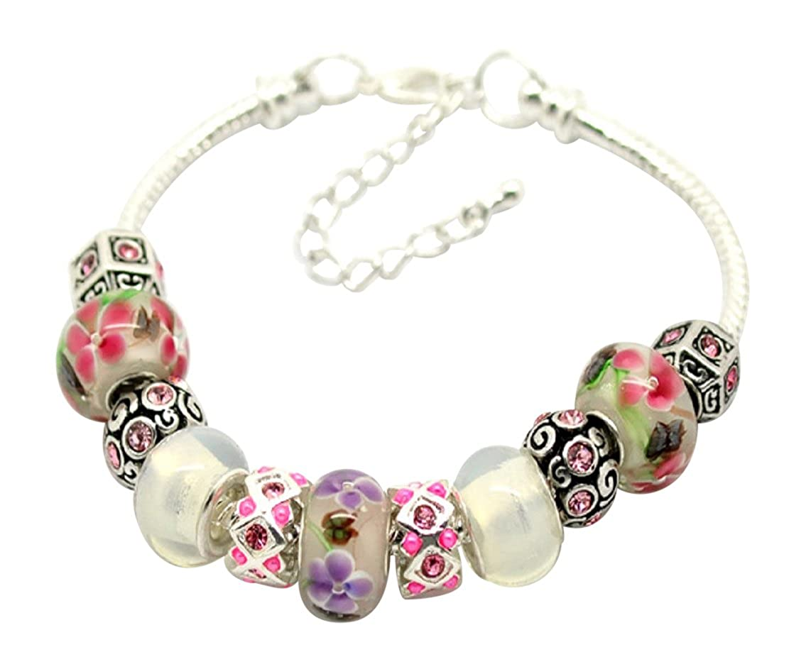 Libby's Market Place Beautiful Pink Glass Beads Bracelet with Gift Box From UK Seller