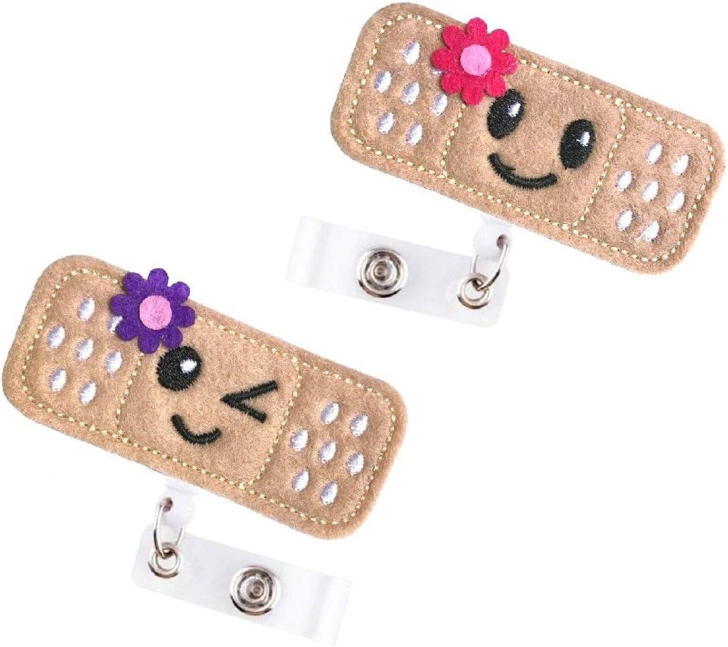 26 inch Retractable Cord Great Nurse Gifts Retractable Nurse Badge Reel 2 Pack Cute Felt Bandage Badge Reel with Alligator Clip