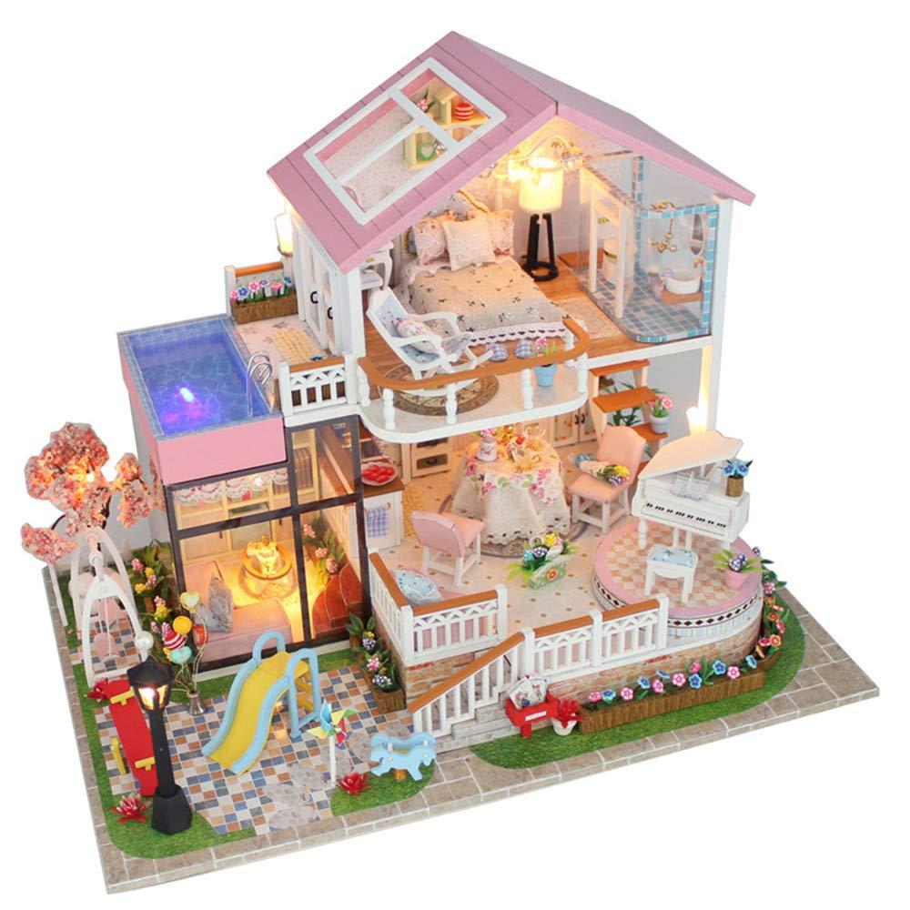 Casa de muñecas en miniatura con muebles Diy House Sweet Talk Cubierto Grande Hecho a mano Montado Modelo Villa Juguete de madera Regalos Casa de muñecas de madera con muebles y accesorios, Juguetes e