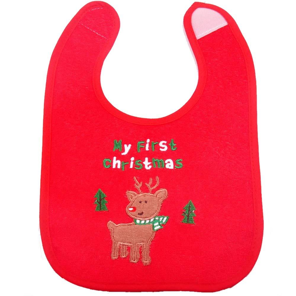 erste Weihnachten Baby Geschenke 4pcs verschiedene Muster wasserdicht L/ätzchen erste Weihnachten L/ätzchen f/ür Babys Neugeborene und Kleinkinder Weihnachten Baby L/ätzchen