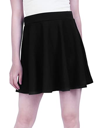 6844752880cd HDE Womens Jersey Knit Flare A Line Pleated Circle Skater Skirt ,Black,Small