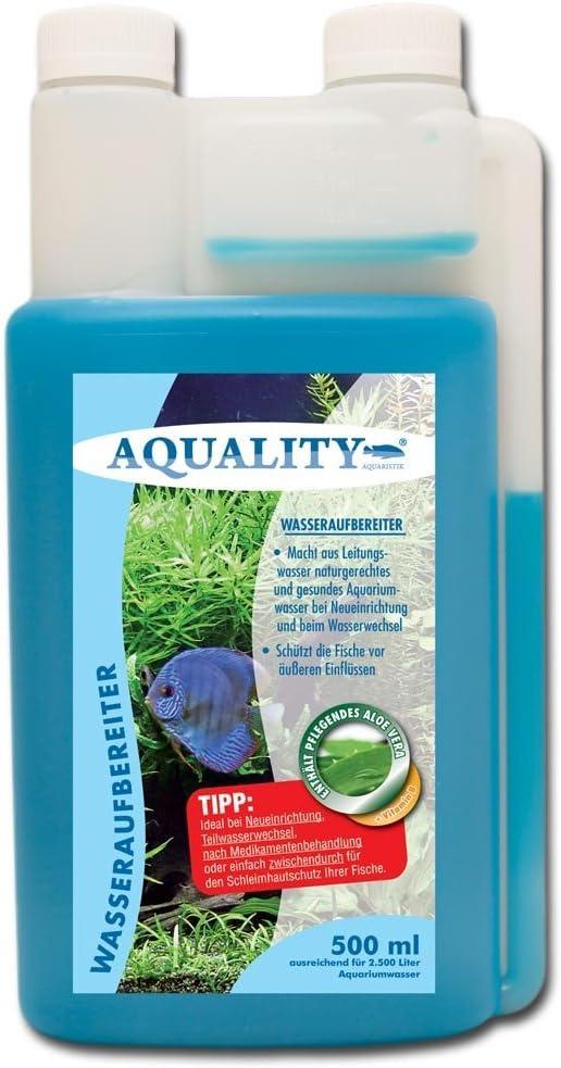 aquality de purificador de Agua 500 ML (Acuario Agua Cuidado y aufbereiter con Aloe Vera + Vitamina B Directamente ...