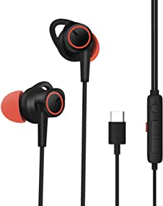 dyplay USB Type C Earphones, Active Noise Cancelling Headphones with WNR Microphone, High Fidelity, Hi-Fi Digital Stereo Wired in-Ear Earbuds for PC, Samsung, Sony, Huawei, Xiaomi, Google Pixel 3/2/XL ( (Black)