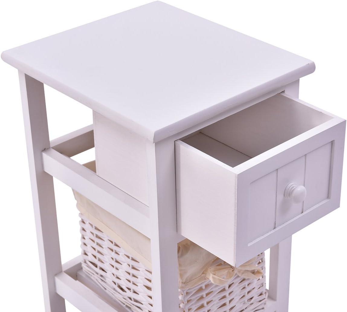 Blitzzauber24 Table de Chevet avec tiroir Table de Nuit Meuble de Rangement Commode en Osier Salle de Bain Cuisine Armoire