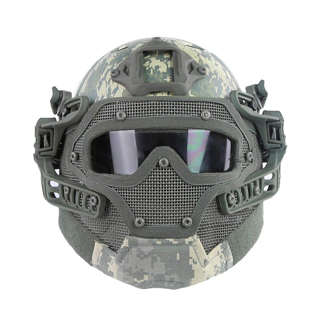HYOUT Fast Tactical Helmet Combined with Full Mask and Goggles for Airsoft Paintball CS (ACU-N) by HYOUT